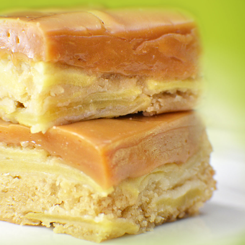 Caramel Creams Caramel Apple Bars Recipe with Layered Fresh Apples