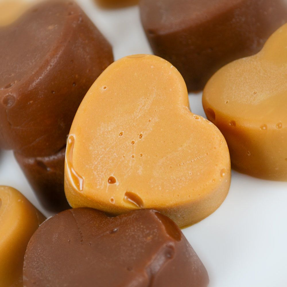 Valentine's Day Recipes: Salted Caramel and Chocolate Caramel Creams Candy Hearts