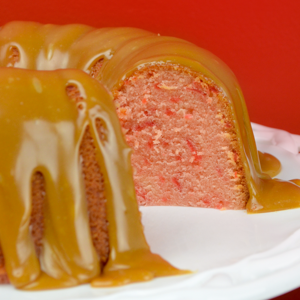 Cherry Cream Cheese Pound Cake Recipe with Caramel Glaze