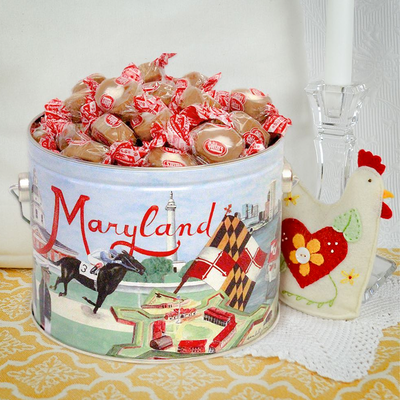 Maryland gift tin filled with Caramel Creams